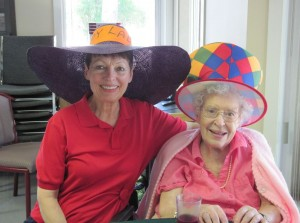 Me with my Mom on 'hat day'