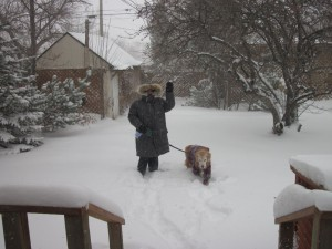 Me taking Maggie for a walk in the blizzard