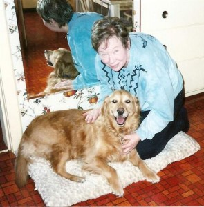 I took this photo Jacquie Darby and Maggie on the day we adopted our golden.